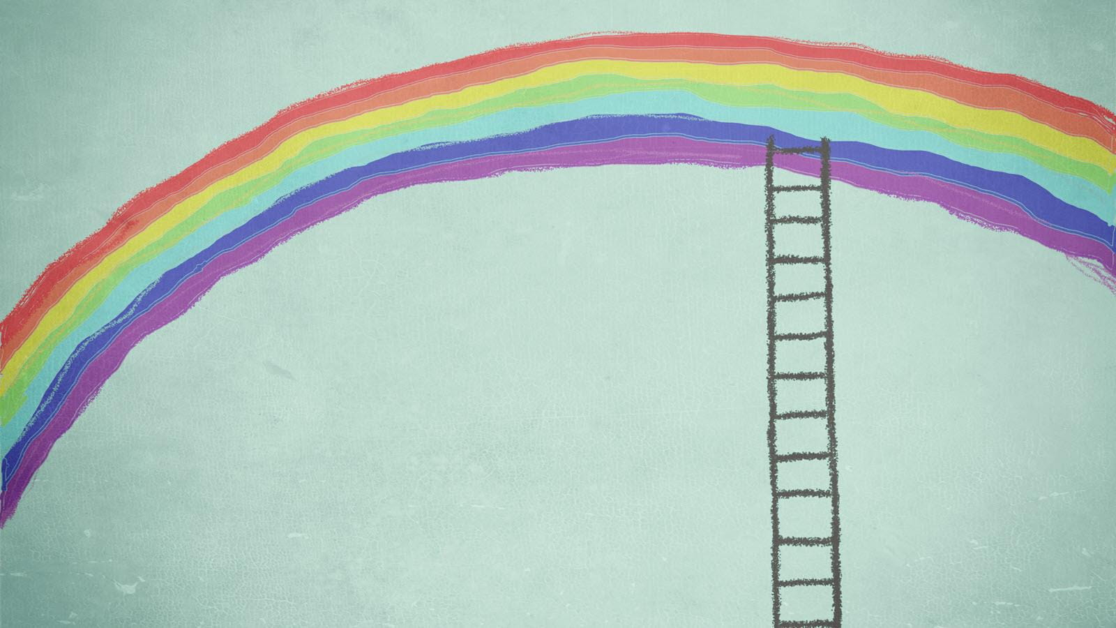 illustration of a rainbow with a ladder reaching up to it