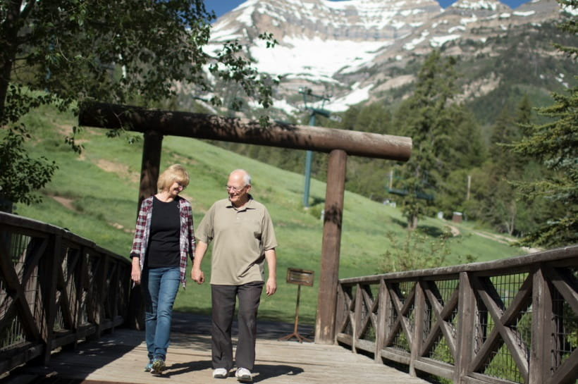 Roberta Smith and her husband on a walk near their home.