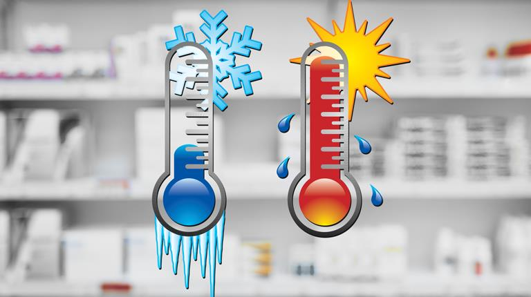 Pharmacy with thermometer graphics.