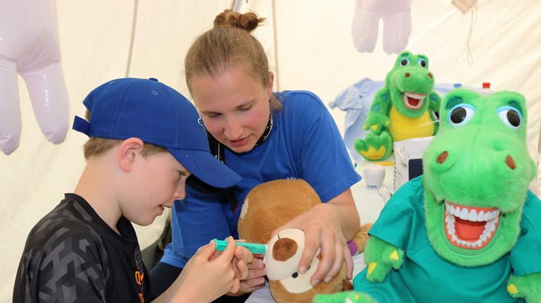 A medical clinic for teddy bears, ambulance tours and trampoline jumping helps teach kids and families about safety and wellness