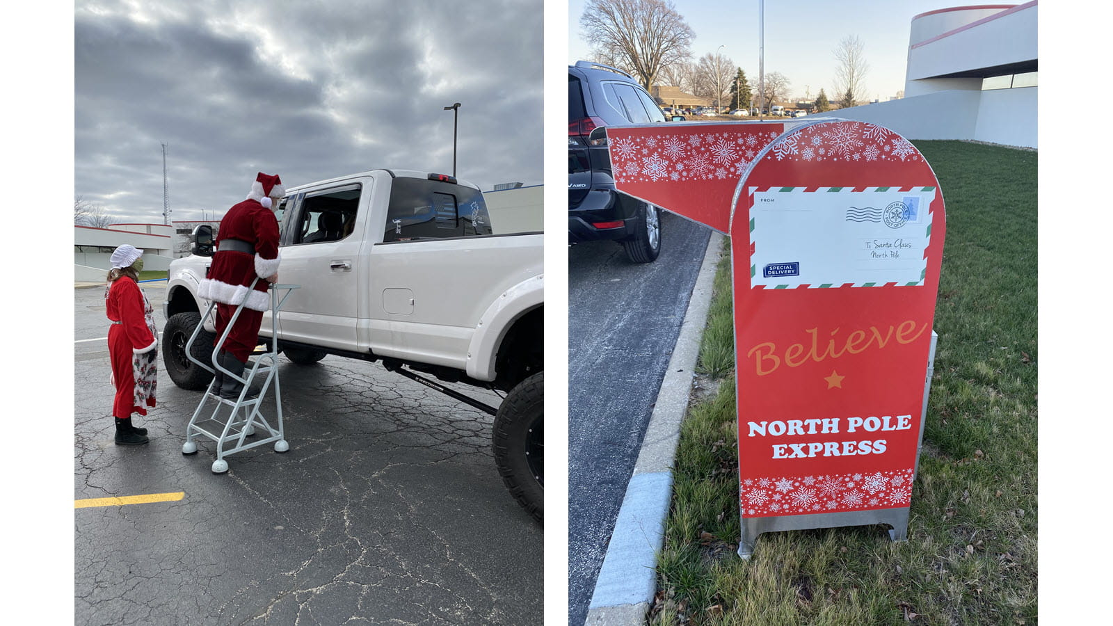 Santa climbs a ladder to greet kids in a pickup truck - Santa's mailbox