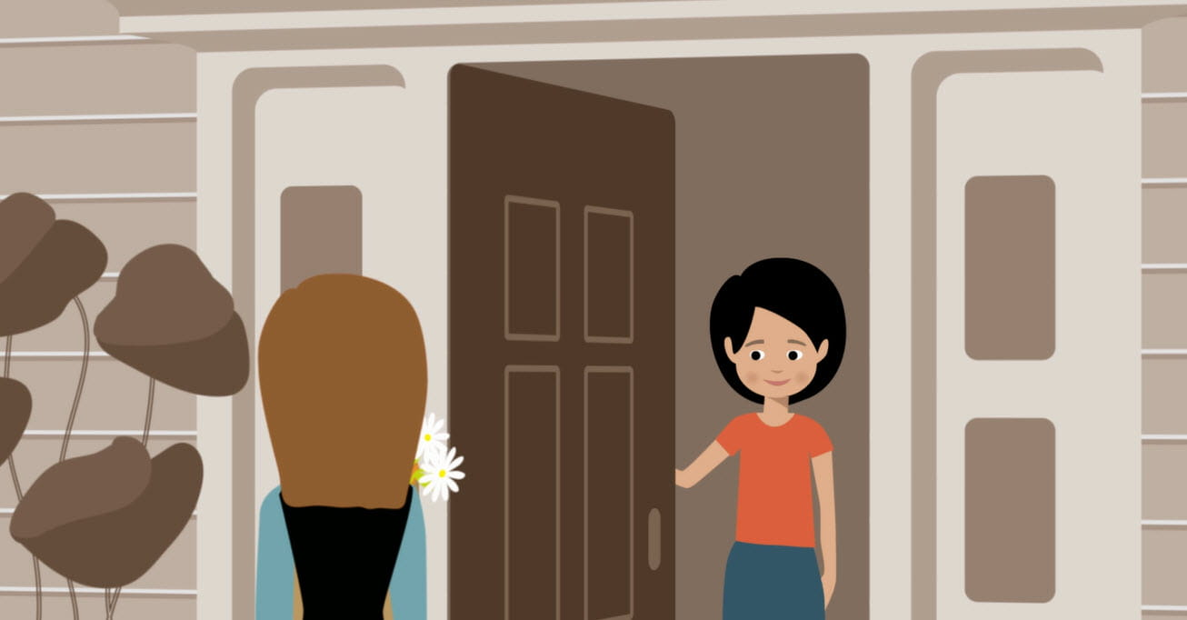Animated woman opening door for friend