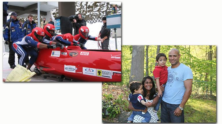 Lorenzo Smith III competes with his U.S. Bobsled teammates (left). Smith today with his wife and sons (right).