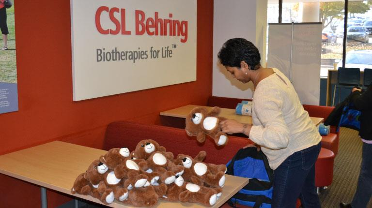 CSL Behring colleagues pack bags for kids in foster care