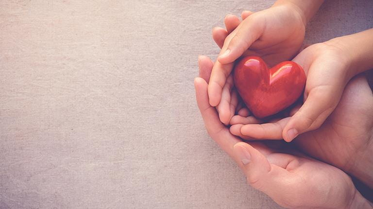 Group of hands holding a figure symbolizing a heart