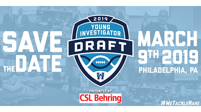 Graphic announcing Uplifting Athletes Young Investigator Draft presented by CSL Behring on March 9, 2019