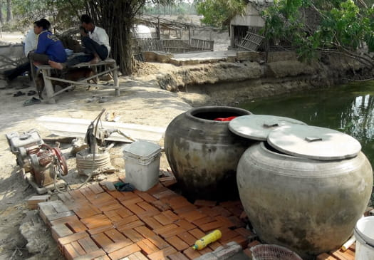 Clay pots in Cambodian village