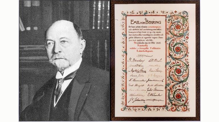 Combined photo of Emil von Behring and his 1901 Nobel Prize for medicine.
