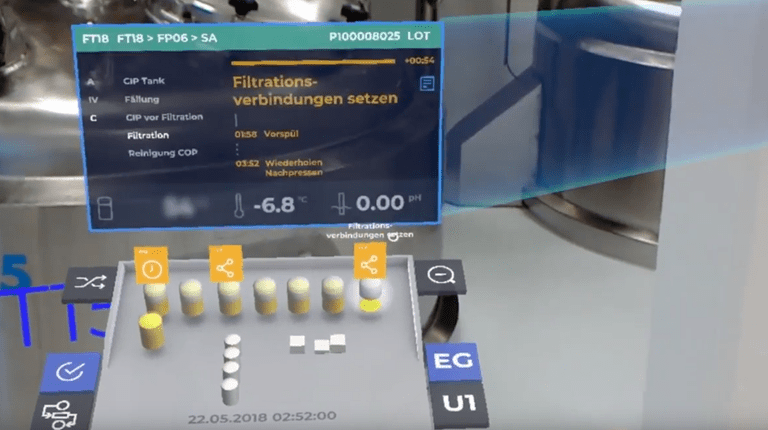 """A view from CSL Behring's award-winning app, which allows employees to """"see"""" critical data through mixed reality glasses."""