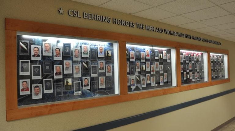 Wall of Service at CSL Behring's Kankakee, Illinois, facility