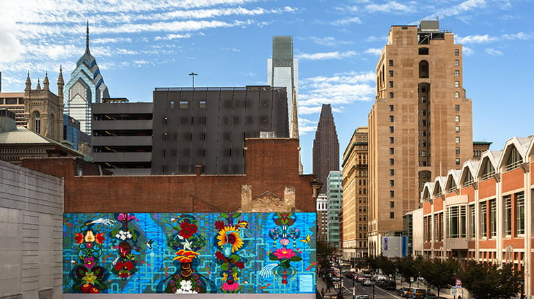 Water Gives Life © 2018 City of Philadelphia Mural Arts Program / Eurhi Jones & David McShane, 13th and Arch Streets. Photo by Steve Weinik.