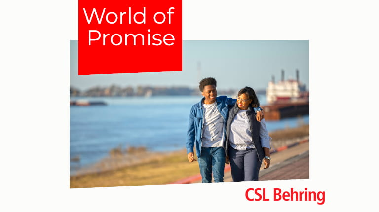 Logo for World of Promise podcast from biotechnology leader CSL Behring