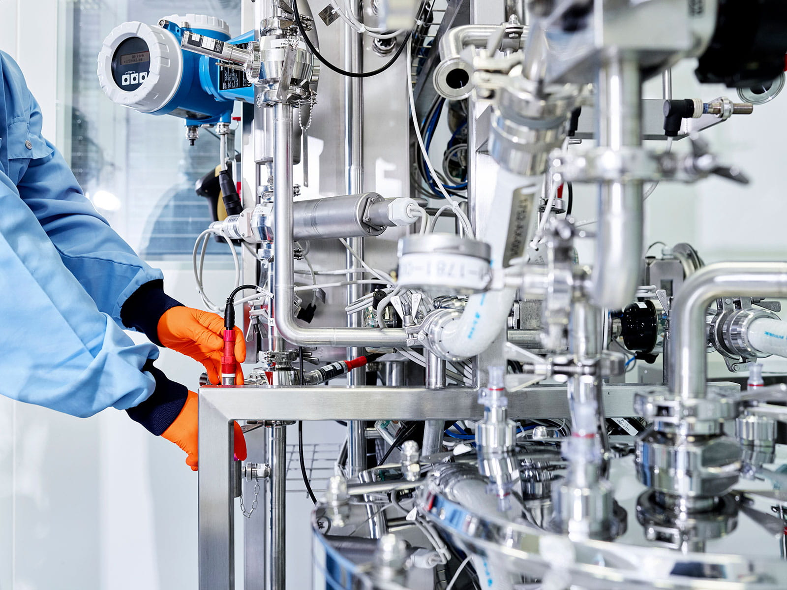 Gloved Technician in a Lab