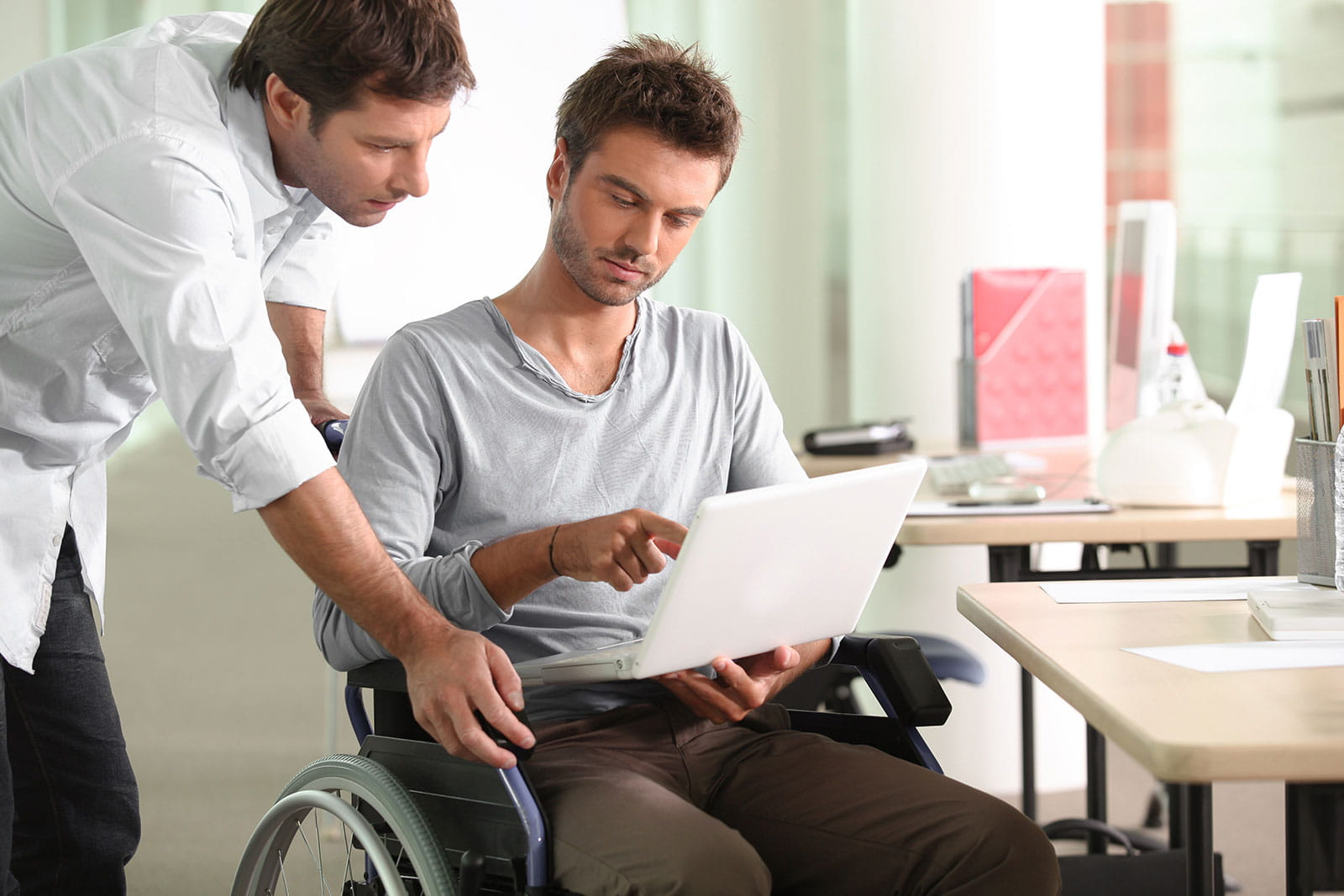 Meeting with a person in a wheelchair