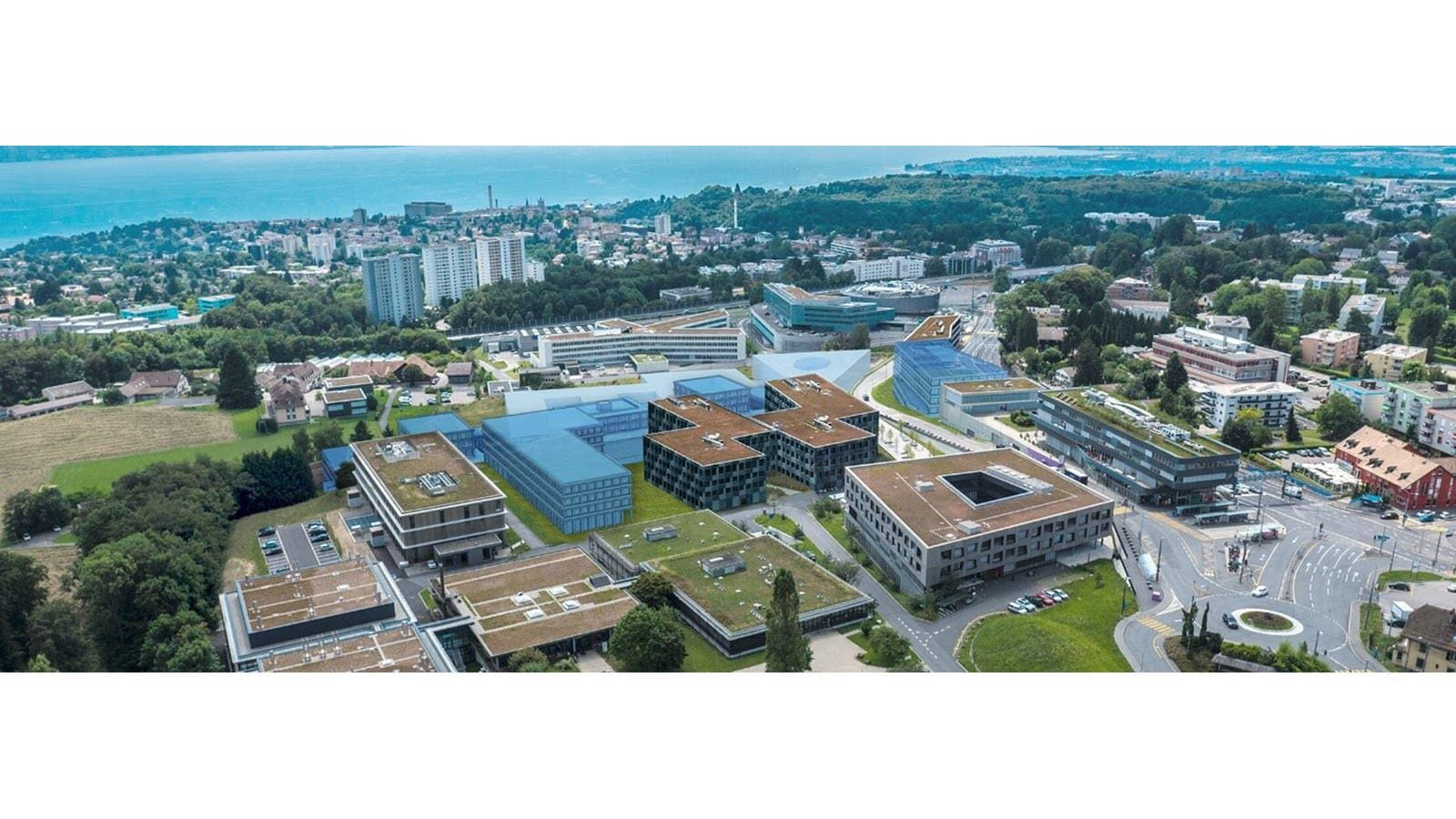 Aerial photograph of the Biopole campus in Switzerland