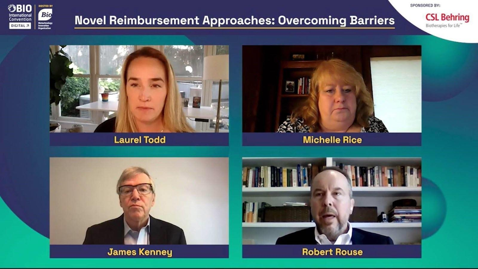 screenshot of the four panelists at a virtual conference session at BIO 2021 about reimbursements