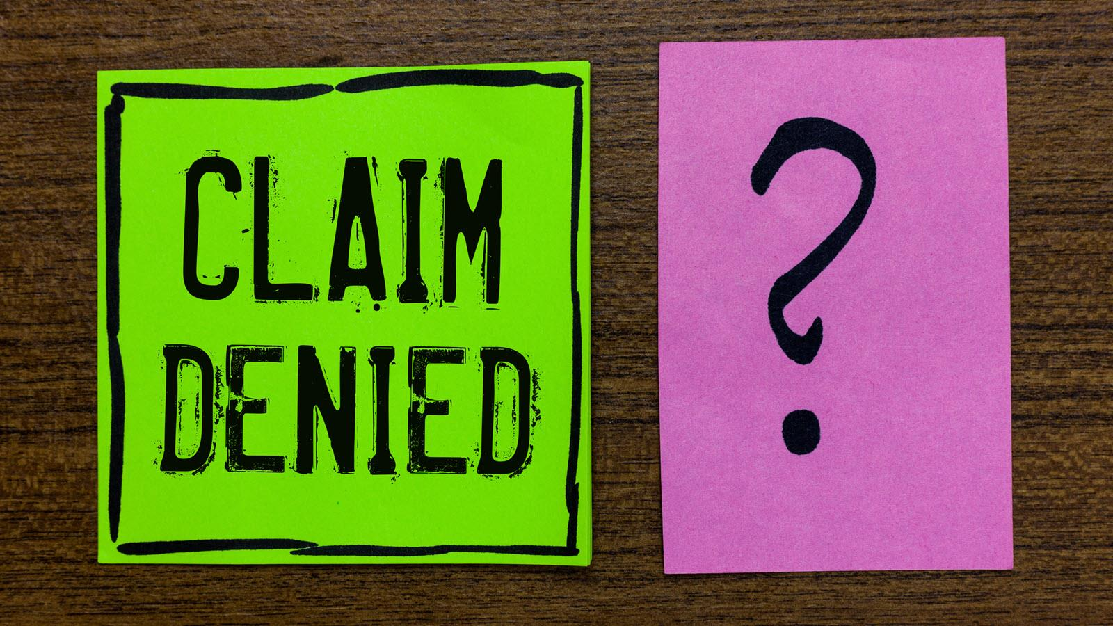 claim denied with a question mark
