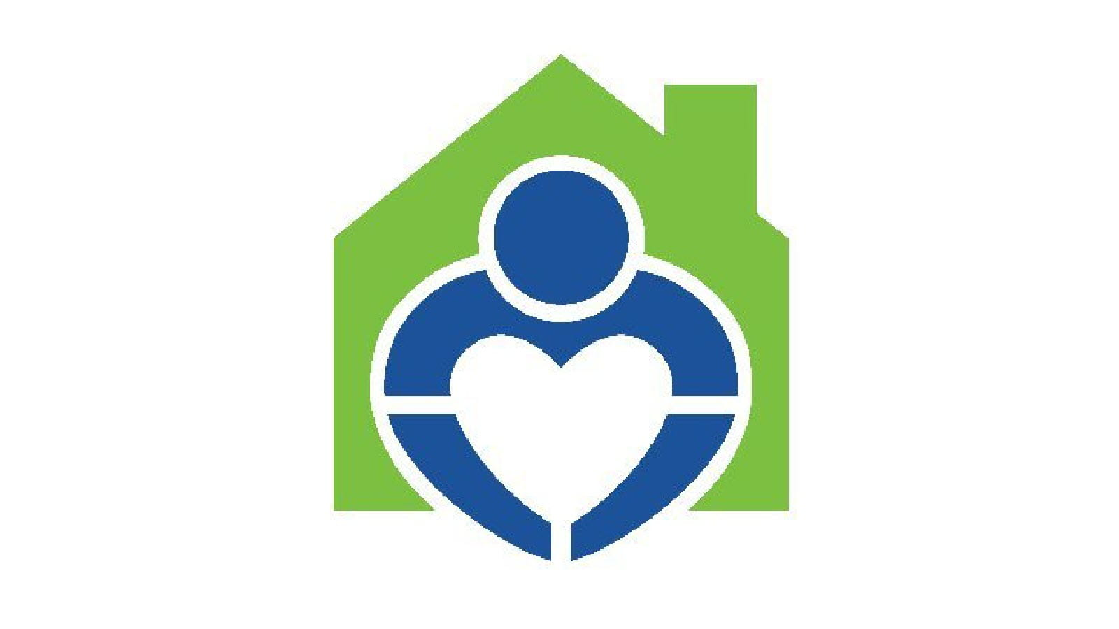 blue and green Gift of Life Family House logo featuring a heart inside a house