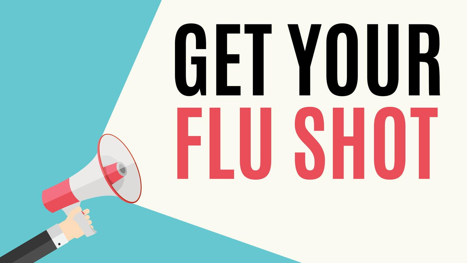Megaphone  with text that says GET YOUR FLU SHOT
