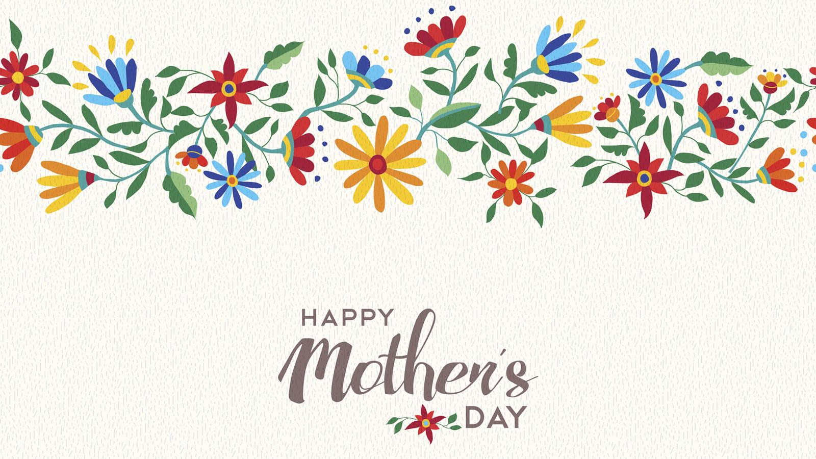 Happy Mother's Day under a floral banner