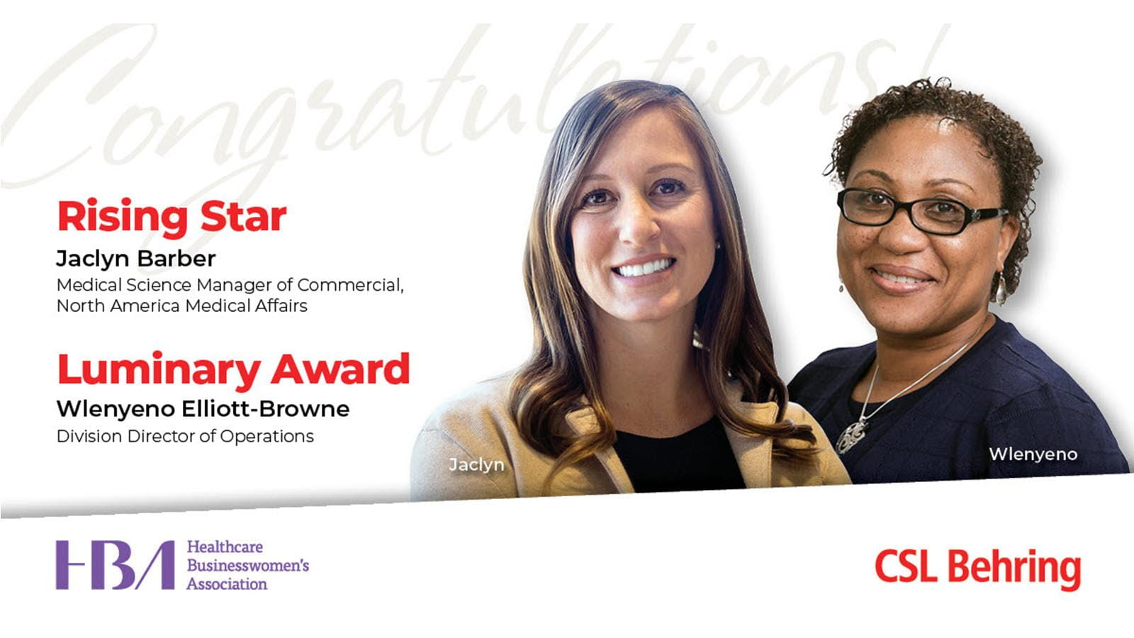 Two Healthcare Businesswomen's Association honorees