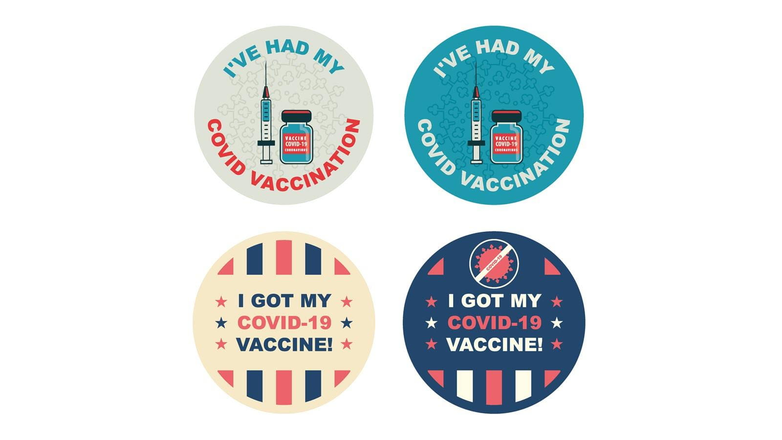 """four different """"I got vaccinated"""" stickers"""