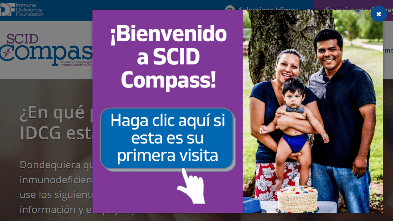A family photo that says Welcome to SCID Compass/Bienvenido a SCID Compass!
