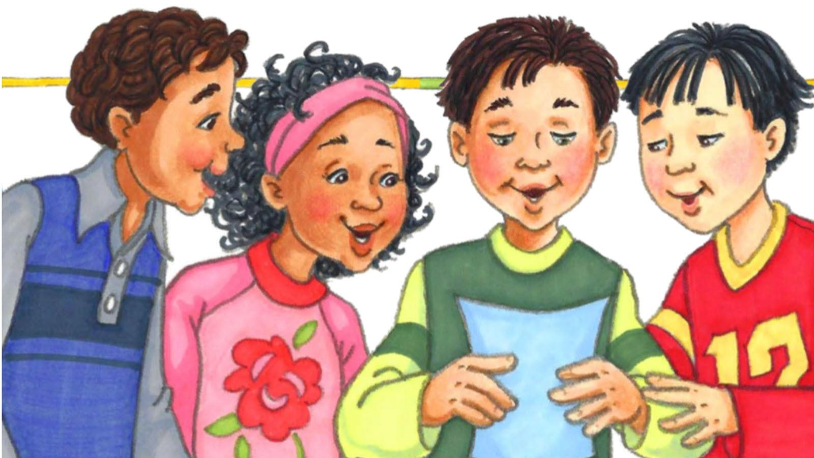 Illustration of four children from the Nico book series about HAE