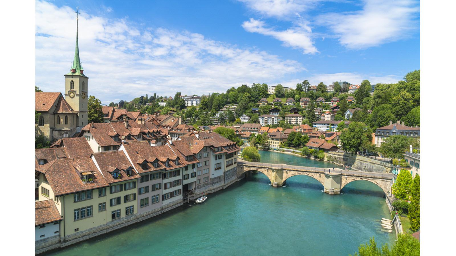 aerial view of Bern, Switzerland and bridge over the Aare River