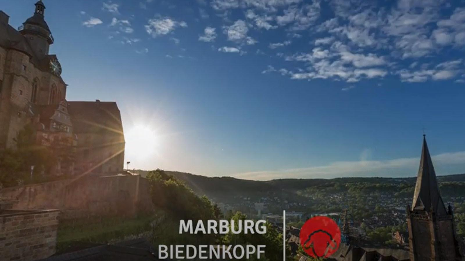 The view from Marburg, Germany, featuring mountains and medieval architecture