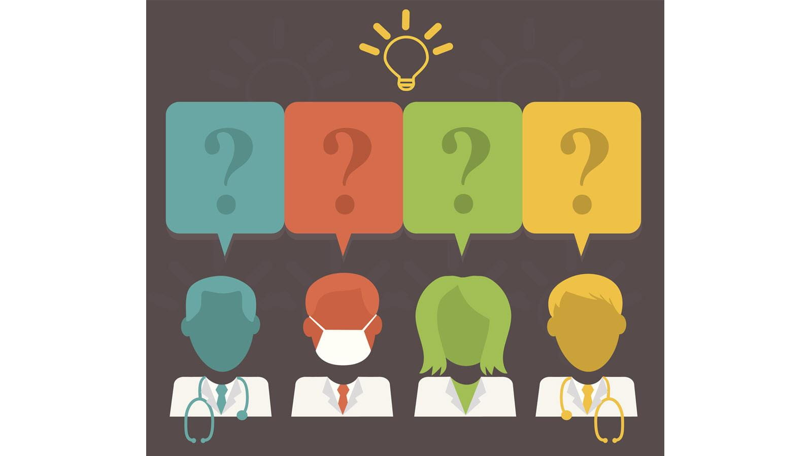 Illustration of four doctors with question marks above their heads