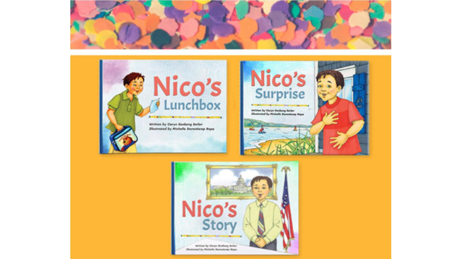 Three children's book covers from the Nico series about HAE