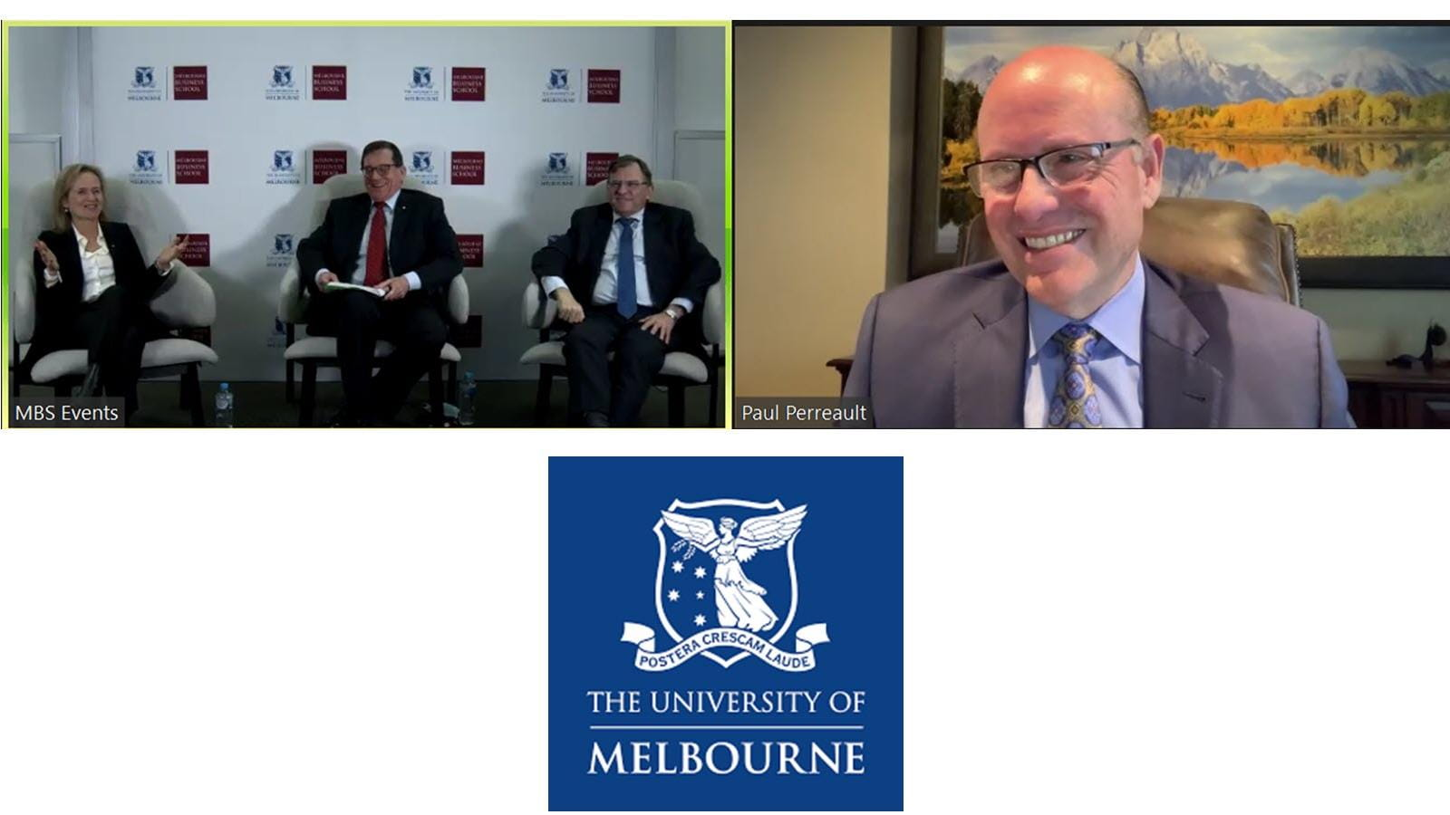 virtual panel at the University of Melbourne with CSL CEO Paul Perreault
