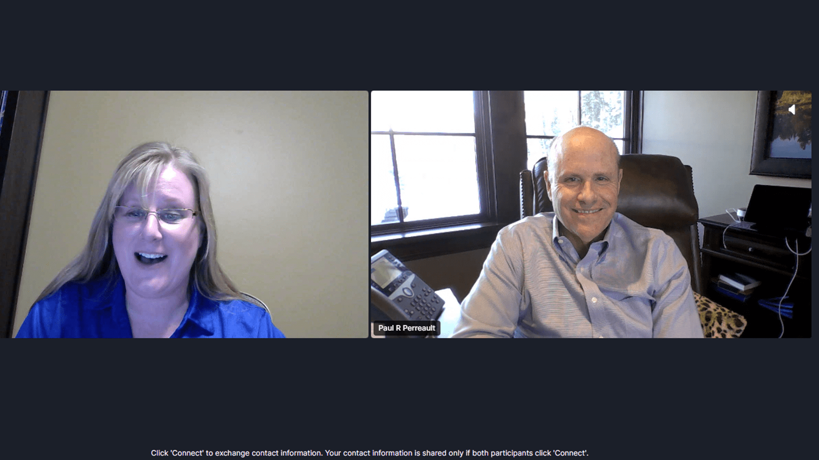 Kelli Klee, Senior Talent Development Specialist, reacts after getting randomly matched with CSL Limited CEO Paul Perreault during a virtual networking session.
