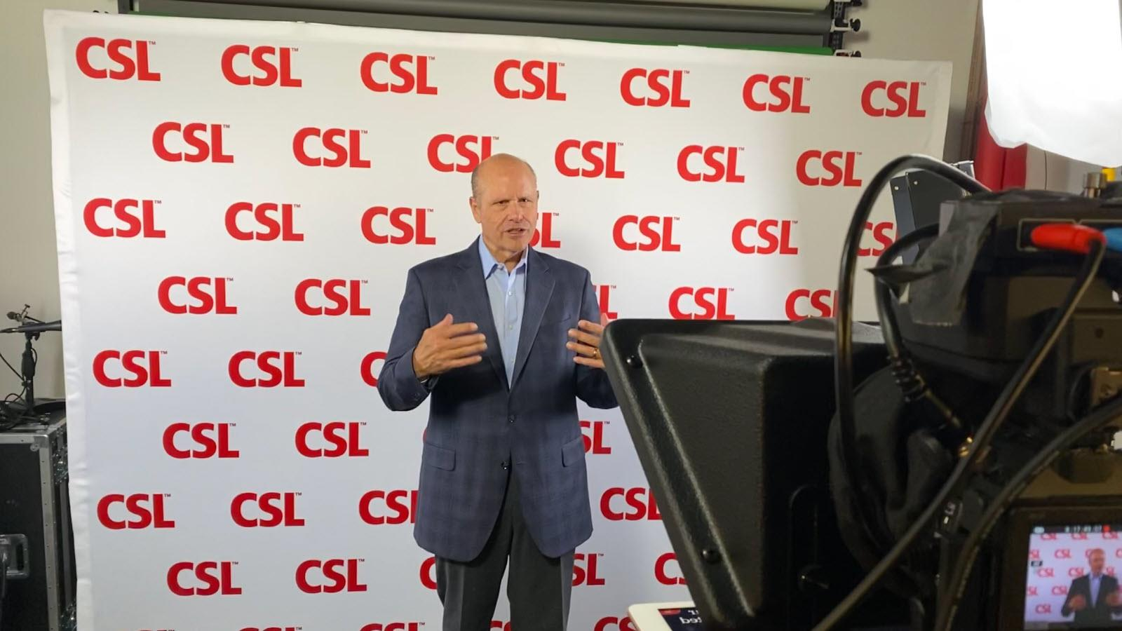 CSL Limited CEO Paul Perreault records a video for employees in the King of Prussia, Pennsylvania studio.