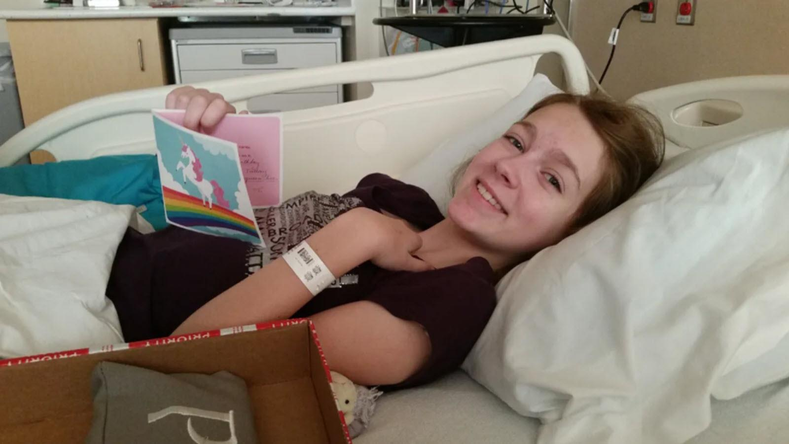 Polly, a young CIDP patient, recovers in the hospital.