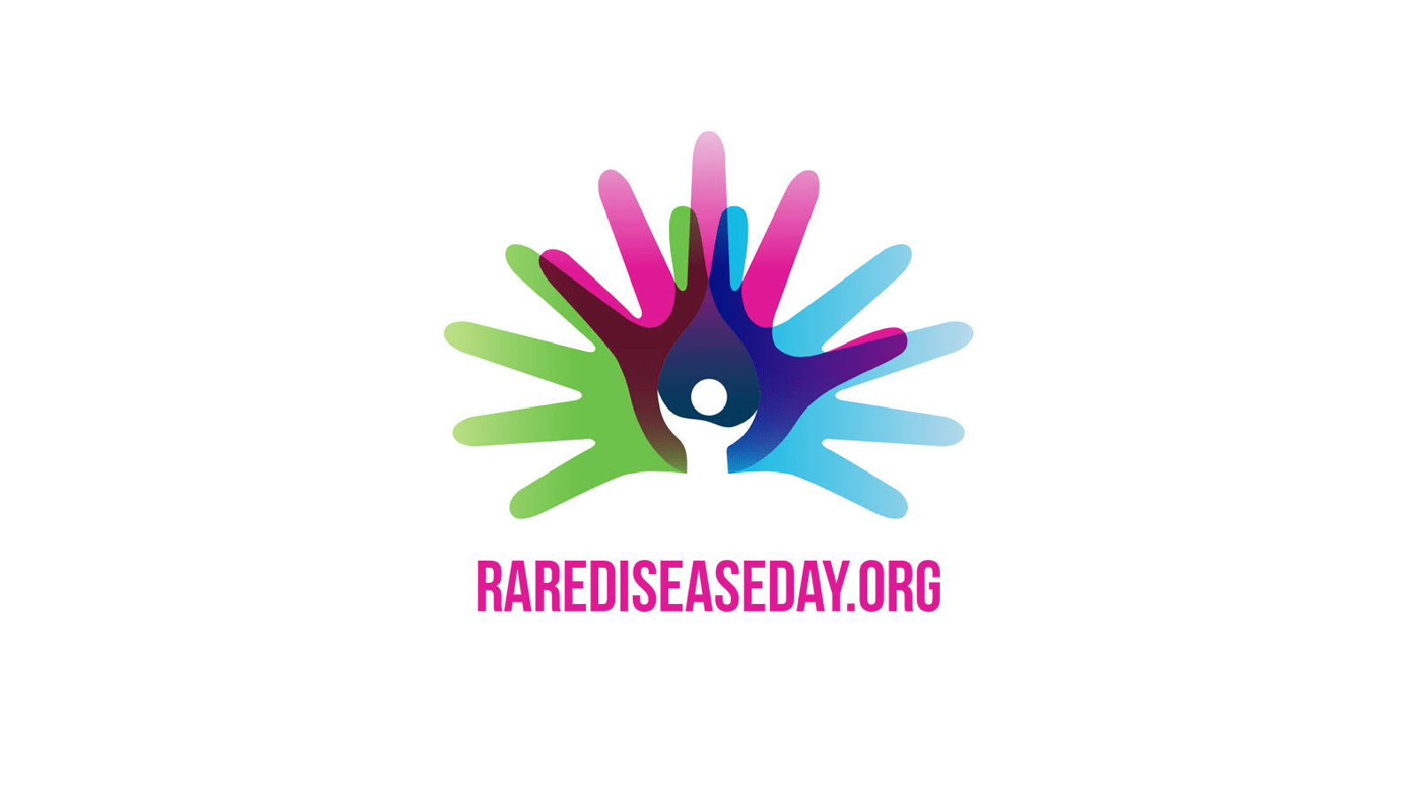 Handprint in green pink and blue - Rare Disease Day logo