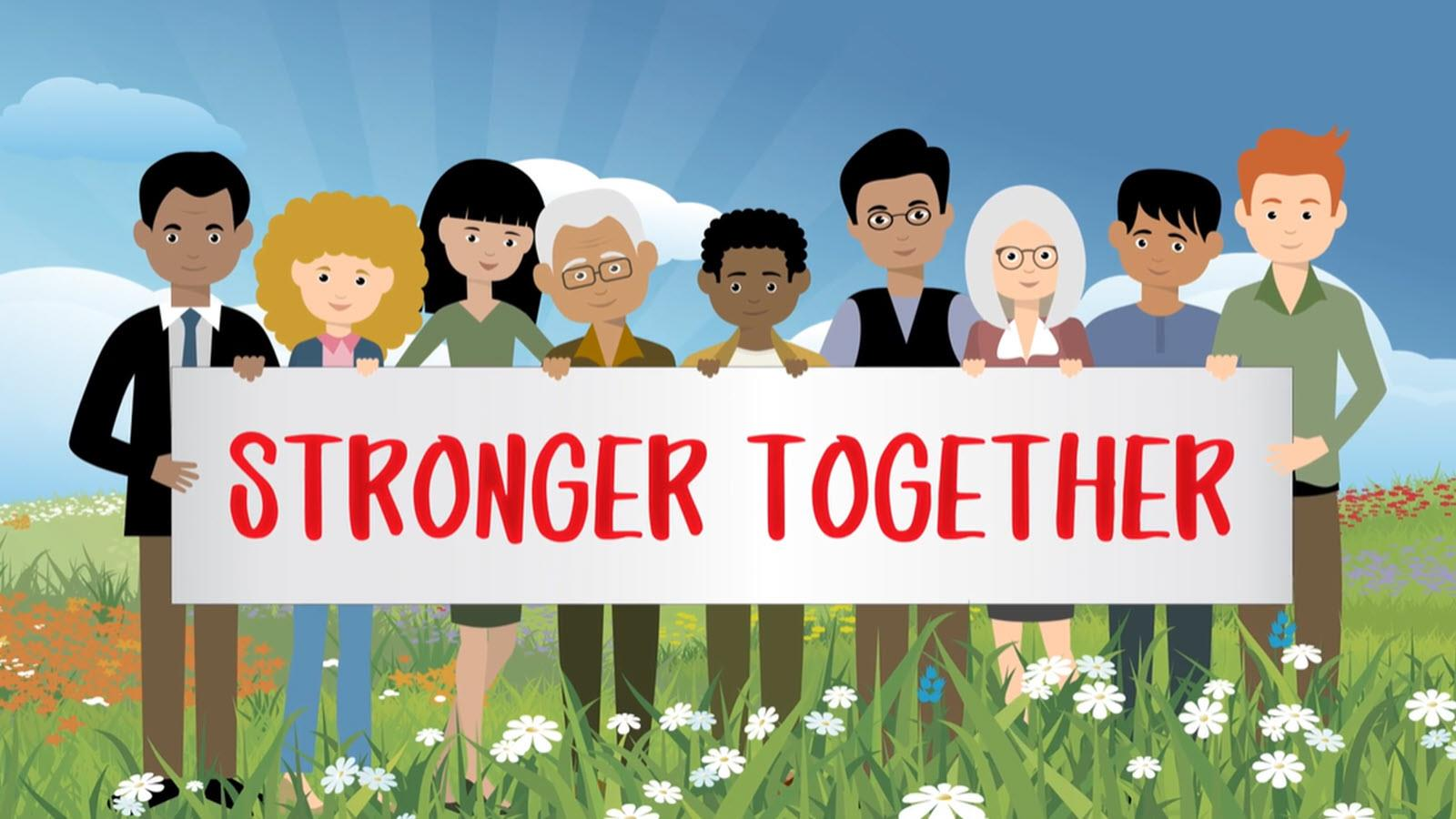 a group of young and old patients holding a Stronger Together sign