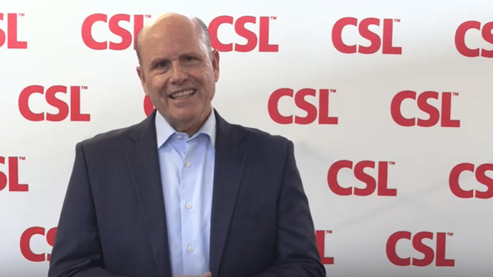 CSL CEO Paul Perreault in front of a CSL background
