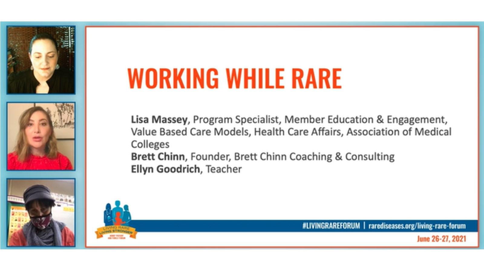 screenshot of a webinar about rare disease patients and employment