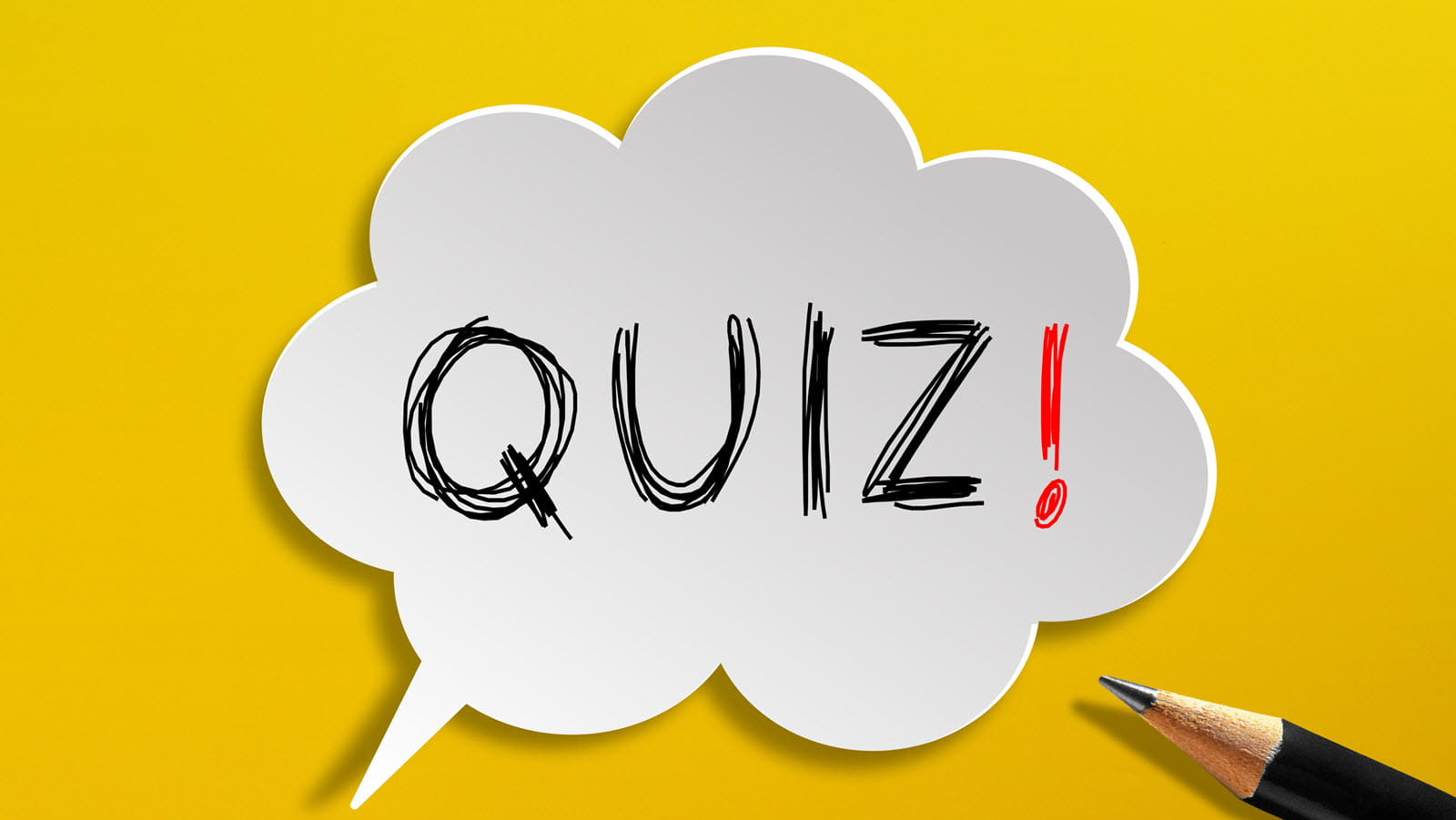 The word quiz in a cartoon bubble on yellow background