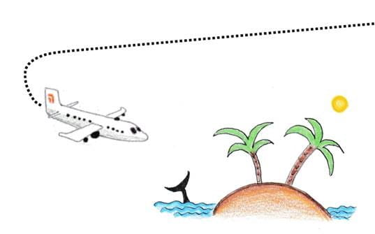 Plane flying above an island - illustration from children's book