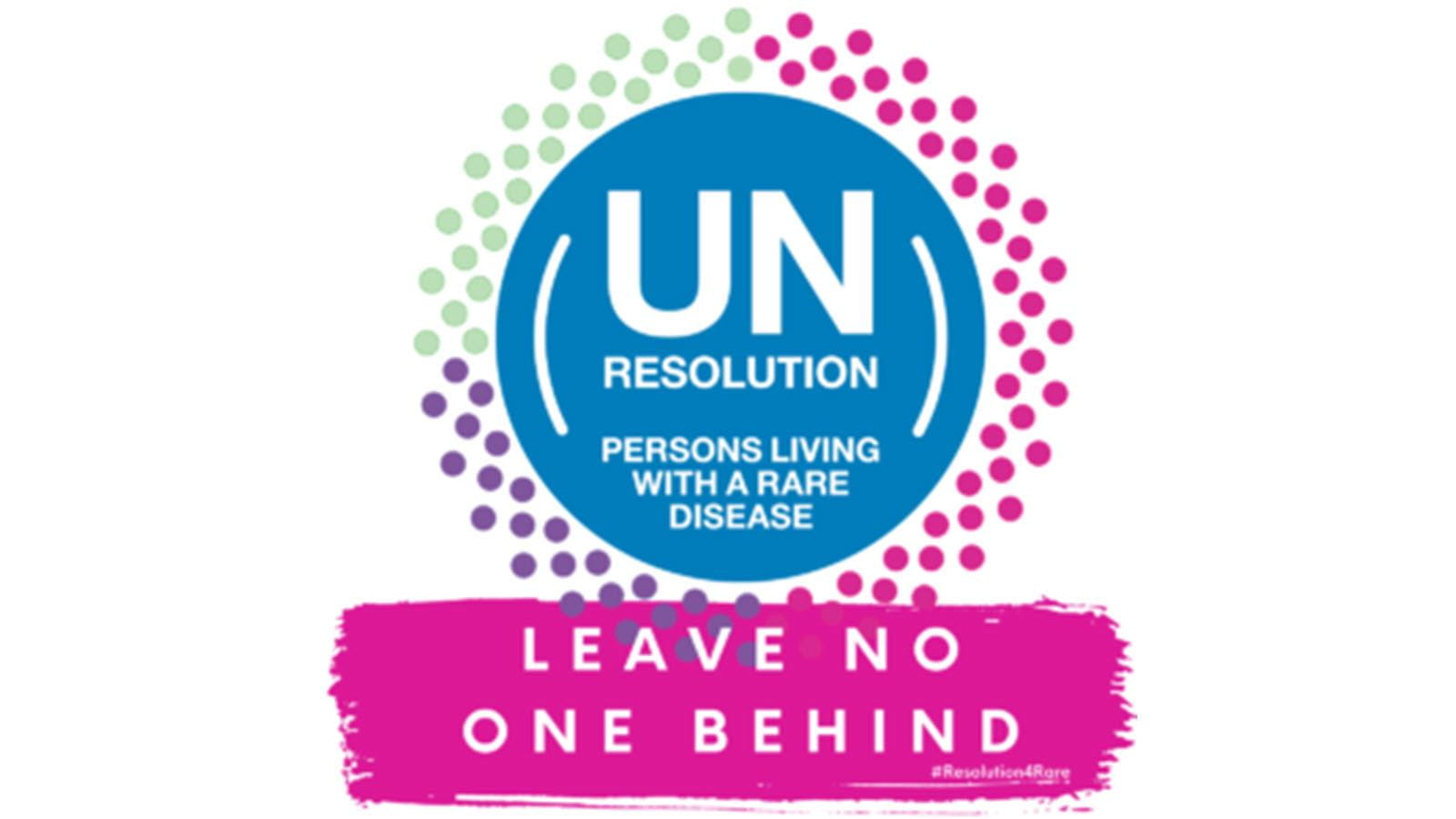 UN resolution graphic for persons with rare diseases - Leave no one behind