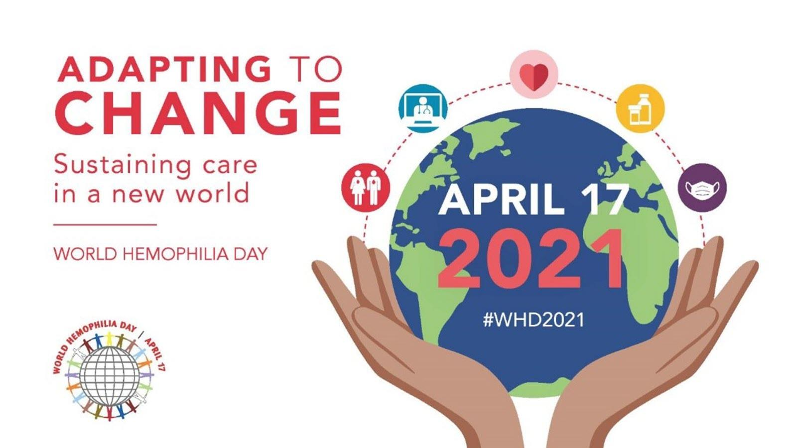 World Hemophilia Day image featuring a globe held by two hands