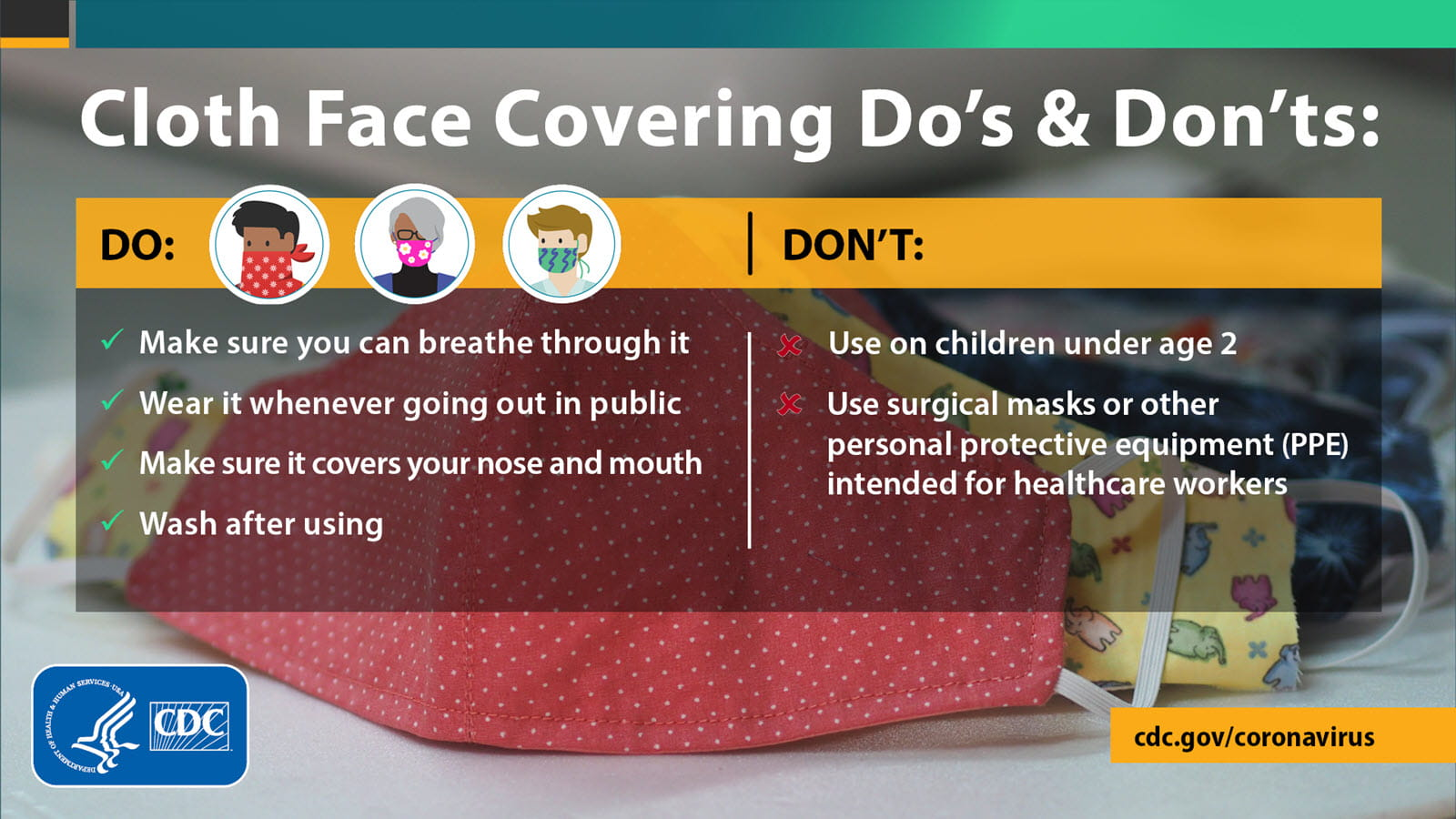CDC do's and don't about wearing a face mask