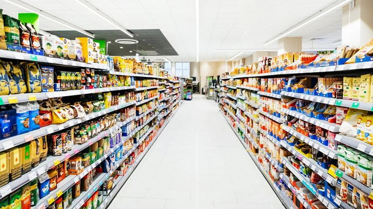 Empty grocery store aisle COVID-19 pandemic