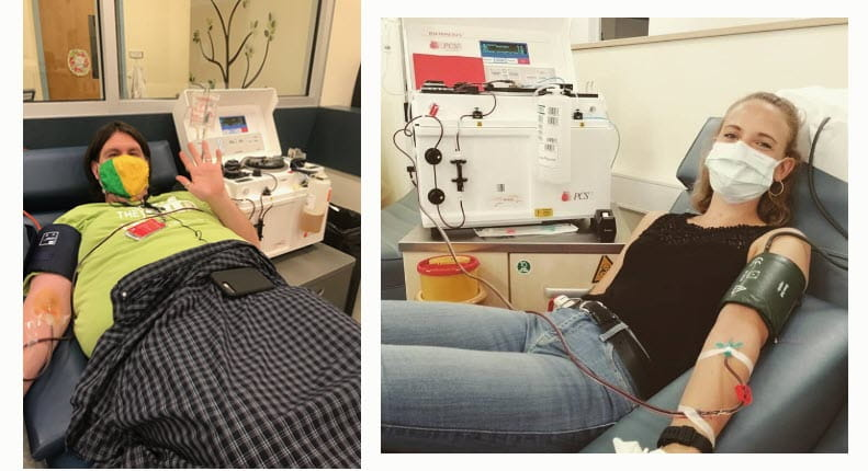Guy Redmond and Pia Amend donate plasma for rare disease patients.