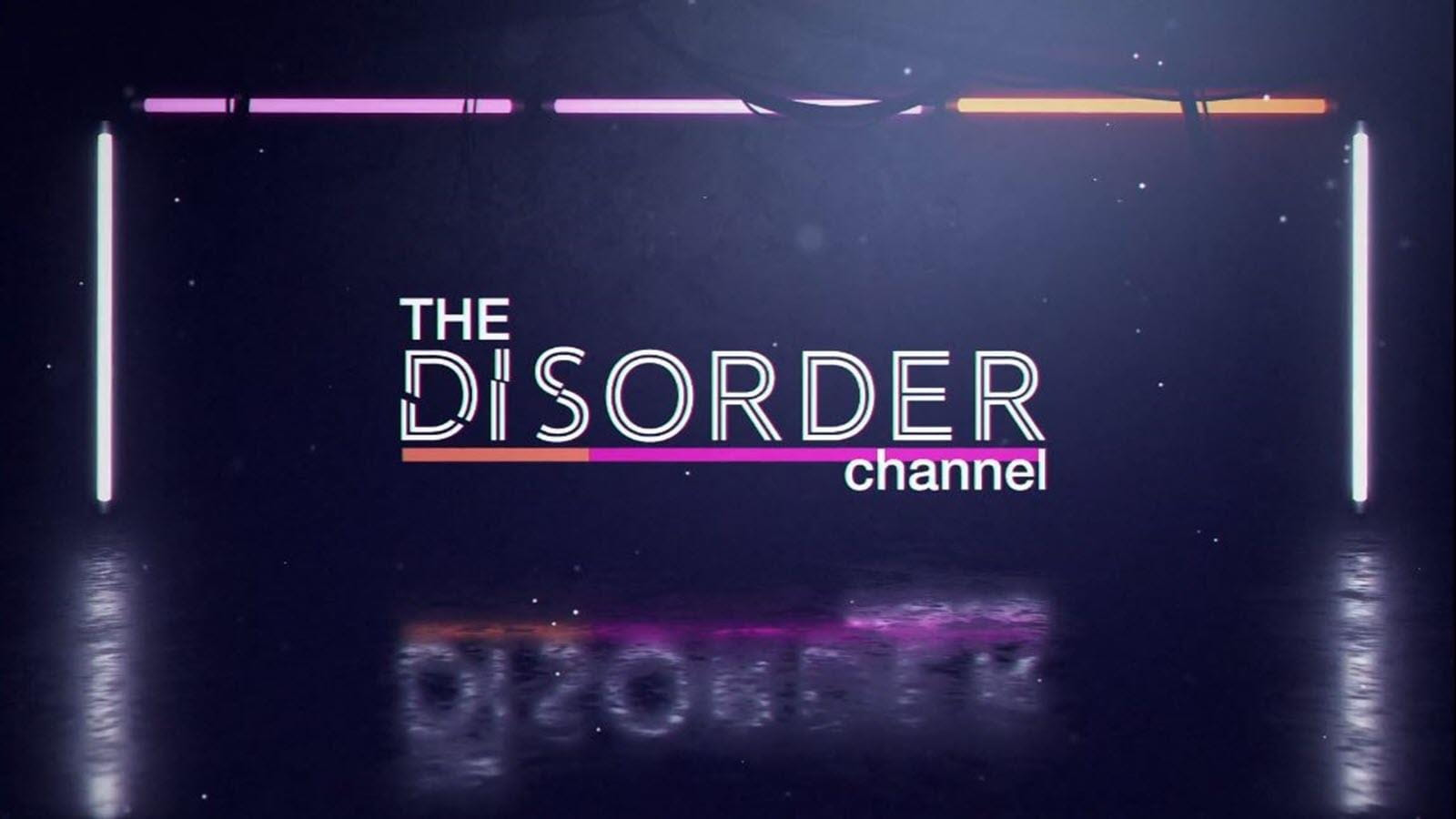 lighted logo for THE DISORDER channel on black background