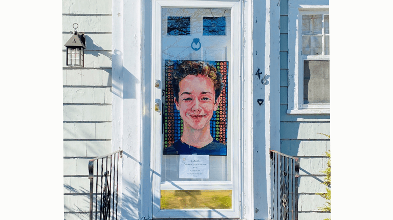 Painting hangs on Patricia Weltin's front door
