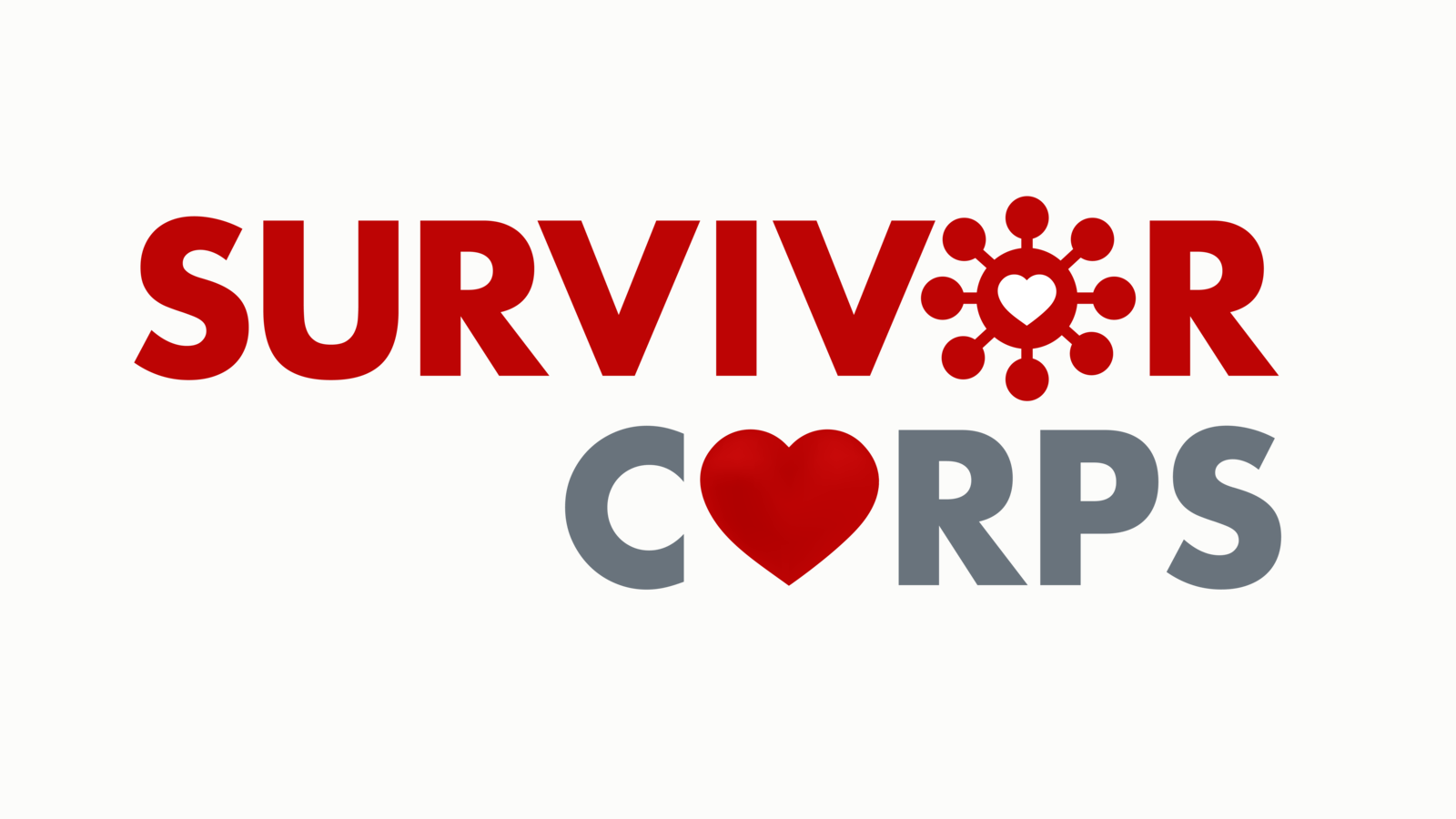 Surivior Corps logo red with a heart and a COVID19 microbe